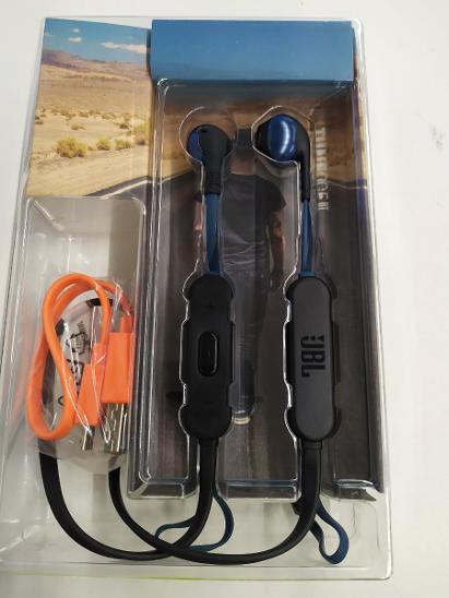 Nefunkční a pouze pro podnikatele: Sluchátka JBL T205 BT modrá - TV, audio, video