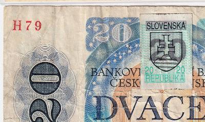 20 Kčs 1988 série H 79 - slovenský kolek 1993 !