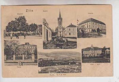Zlín, pohled na město, náměstí, kostel, škola, vil