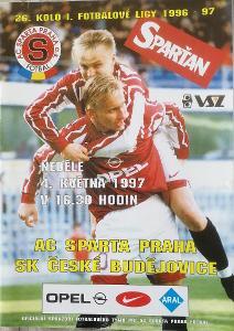 fotbalový program Sparta Praha - SK České Budějovice (1997)