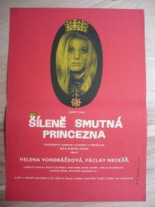 Šíleně smutná princezna (filmový plakát, film ČSSR 1