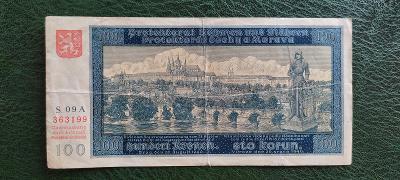 Bankovka - 100 Korun 1940 - Protektorát -Série 09 A - I. Vydání !!!!!!