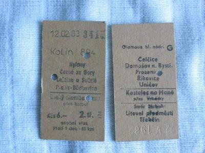 Staré kartonové jízdenky na vlak 2 kusy - oboustranné - chyboražba?