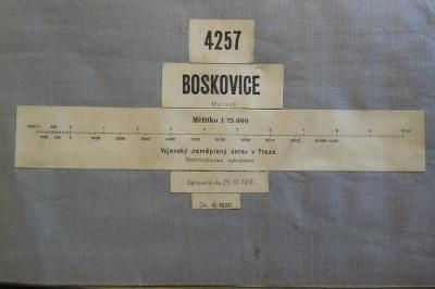 STARÁ VOJENSKÁ MAPA NA PLÁTNĚ!!! BOSKOVICE 1930