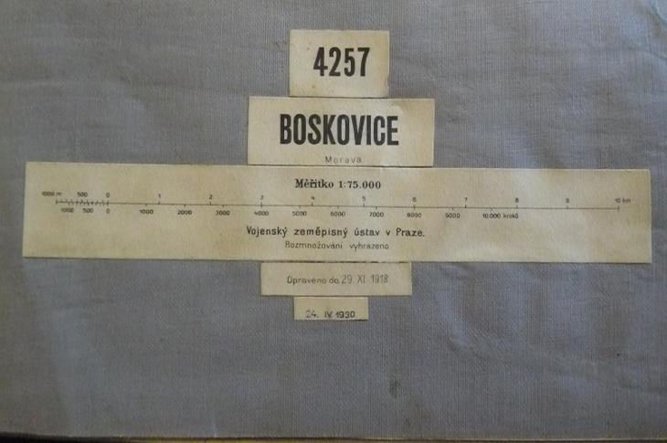 STARÁ VOJENSKÁ MAPA NA PLÁTNĚ!!! BOSKOVICE 1930 - Antikvariát
