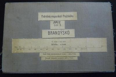 STARÁ VOJENSKÁ MAPA NA PLÁTNĚ!!! BRANDÝSKO 1929