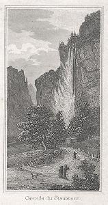 Staubach vodopád, Kleine Univ., oceloryt, 1844