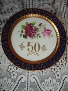 LUXUSNÍ DEKORAČNÍ TALÍŘ --- 50 LET, KOBALT, ZNAČENO EPIAG