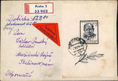 10B2925 R dopis Praha - Mar. Lázně, vyfrankováno 2 aršíky Zápotocký