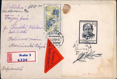 10B2926 R dopis Praha - Mar. Lázně, vyfrankováno 1 aršík Novotný R!!