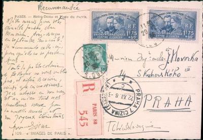 17B620 R- pohled Francie Notre Dame J. Hovorka , razítko Praha- cizina