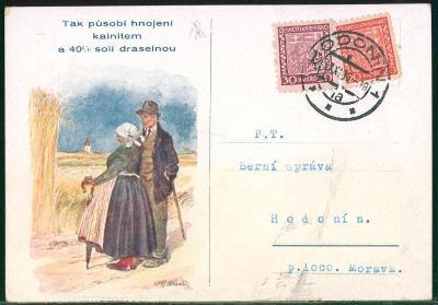 10B1507 Reklamní lístek na hnojiva - na berní úřad Hodonín, barevná fr