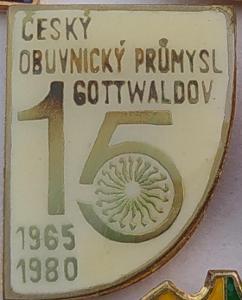 P65 Odznak Český obuvnický průmysl Gottwaldov 22x16mm,   1ks