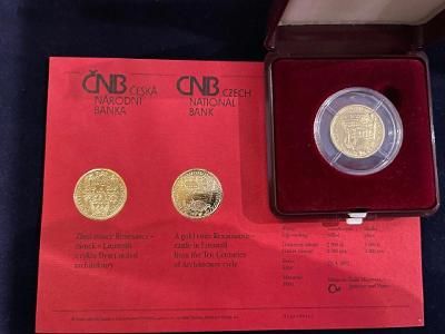 Zlatá mince 2000Kč zámek v Litomyšli   2002  BK.