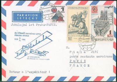 10L373 Letecký dopis 60. výročí 1. letu Praha - Paříž