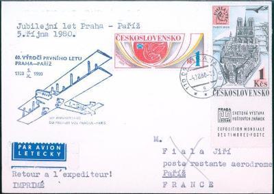 10L374 Letecký dopis 60. výročí 1. letu Praha - Paříž