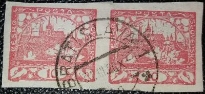 ČSR1 - 1918 - Hradčany 10h - č.5 - 2 páska - holubice+ Mucha aj.....