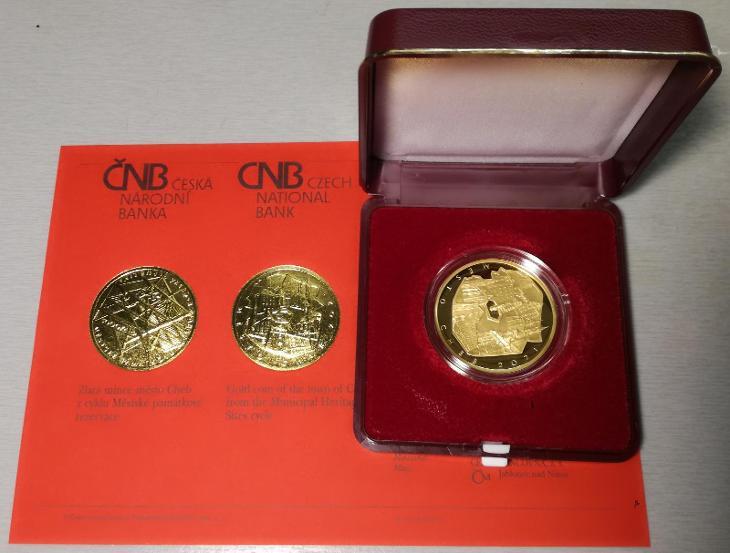 Půluncová zlatá mince ČNB Cheb Proof 2021, nová včetně certifikátu! - Numismatika