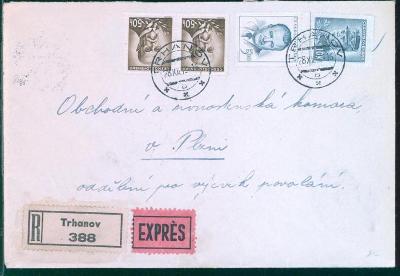11B434 R expres dopis Trhanov - Obch. a živnost. komora Plzeň