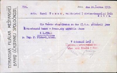 2A390 Bank. příkaz rtm. K.Toman velitelství 7.divize gen. št. Nitra R!