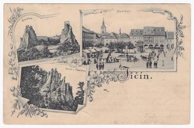 JIČÍN,TROSKY,Partie z Prachova,dlouhá adr.,známka RU, rok 1899