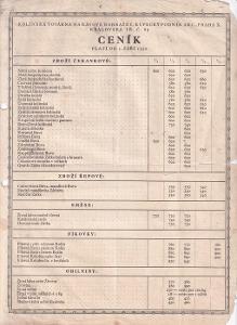 Leták Továrna na kávové náhražky, Ceník 1930