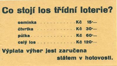 Originální reklama – loterie, losy, 30.léta