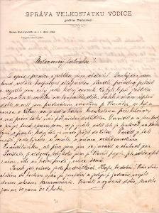 Dokument firemní dopis velkostatek Vodice 30.léta