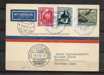 Graf Zeppelin Lichtensteinfahrt 28.6.1932, Sg.167L, vys.kat.!!