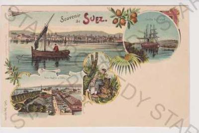 Egypt - Suez - loď, přístav, kostým, litografie, D