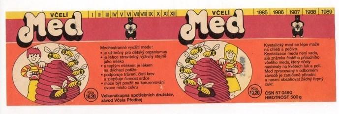 Etiketa Včelí med, závod Včela Předboj