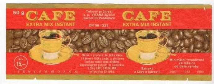 Etiketa instantní káva, Vitana, Byšice, Pardubice