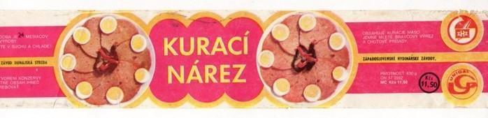 Etiketa Kurací nárez, závod Dunajská Streda
