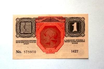 Bankovka 1 Koruna 1916 bez přetisku pěkná ,platila i po 1918 v ČSR