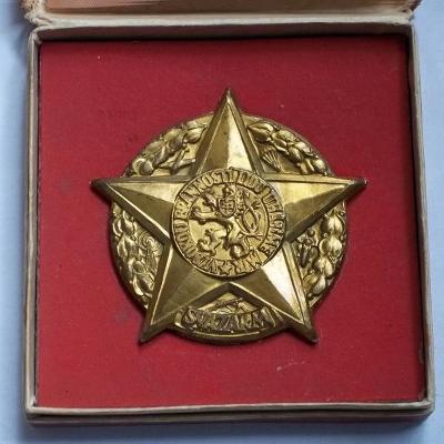 ČSR Svazarmovská velká kovová Hvězda v etui pěkný stav