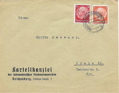 Firemní obálka Liberec známka Reich