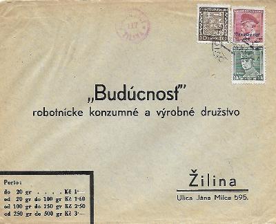 Firemní obálka Žilina Slovenský Štát smíšené výplatné