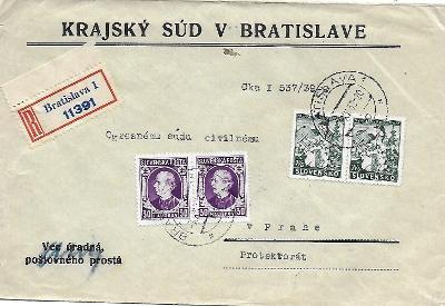 Úřední doporučená obálka Bratislava Slovenský Štát