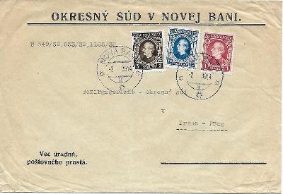 Úřední obálka Nová Baňa Slovenský Štát