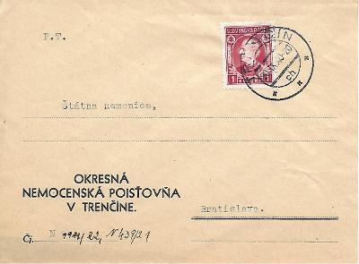 Úřední obálka Trenčín Slovenský Štát
