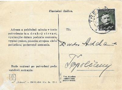 Částečný tiskopis Trenčín Slovenský Štát