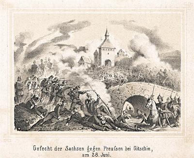 Jičín sasové bitva, Litografie, (1870)