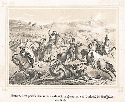 Hradec Králové bitva, Litografie, (1870)