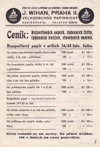 Leták kancelářské potřeby Wihan, Praha II.
