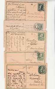RU celiny, korespondenční lístky, odpovědní díly, cca 1910, 5 ks