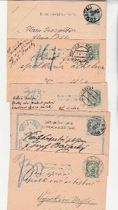 RU celiny , korespondenční lístky, cca 1905, 5 ks