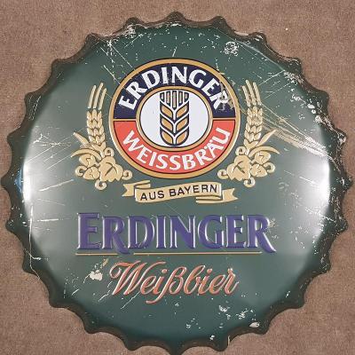 Velká plechová cedule ve tvaru pivní zátky ERDINGER