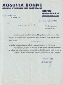 Dopis hygienické potřeby Bohne, Brno