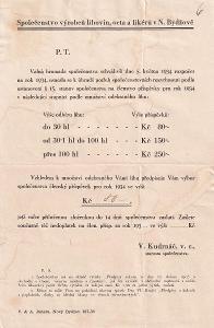 Leták Společenstvo výrobců lihovin, N. Bydžov