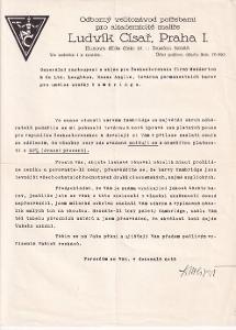 Dopis malířské potřeby L. Císař, Praha I.